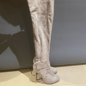 Grey stilettos over the knee boots